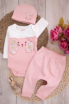 Kız Bebek Çiçekli Tavşan Badili Takım - 15301-032737