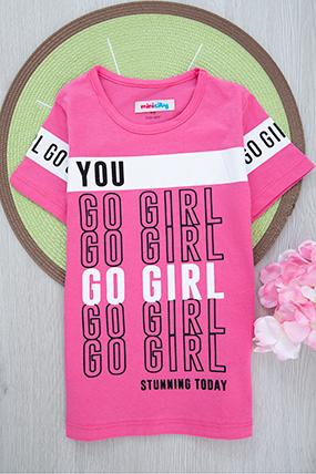 Kız Çocuk Baskılı T-Shirt -12309 (4-10 Yaş)-037965
