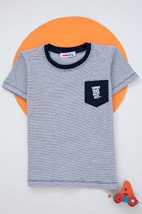 Erkek Çocuk Çizgili Cepli T-Shirt - 12994 (4-8 Yaş)-057678