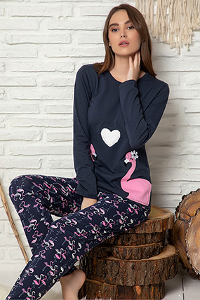 Kadın Nakışlı Pijama Takımı - 1202-182052