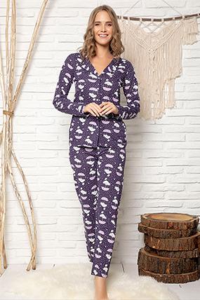 Kadın Düğmeli Pijama Takımı - 1606-182056