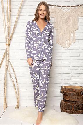 Kadın Düğmeli Pijama Takımı - 1607-182057