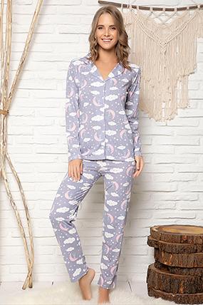 Kadın Düğmeli Pijama Takımı - 1605-182058