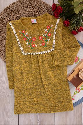 Kız Çocuk Nakışlı Ponponlu Tunik - 535 (4-8 Yaş)-283266