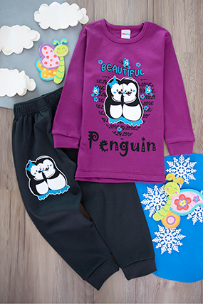 Kız Çocuk Penguen Baskılı Pijama Takımı (4-6 Yaş)-440525