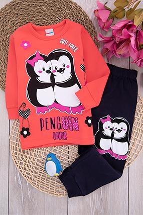 Kız Çocuk Penguen Baskılı Pijama Takımı (10-12 Yaş)-440527