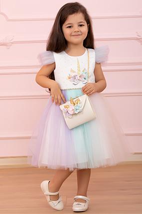 Kız Çocuk Abiye Elbise - 3337 (3-7 Yaş)-455084