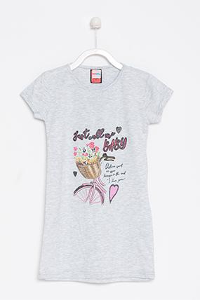 Kız Çocuk Baskılı Yarım Kol Tunik (5-14 Yaş)-461029