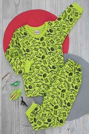 Çocuk Ejderha Baskılı Pijama Takımı - 221 (4-6 Yaş)-599120
