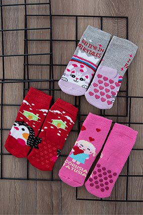 Havlu Kaymaz Üçlü Soket Çorap-887007-2