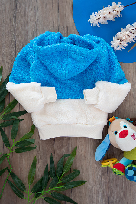 Erkek Bebek Garnili Kapşonlu Peluş Sweat - 376 (2-6 Yaş)_