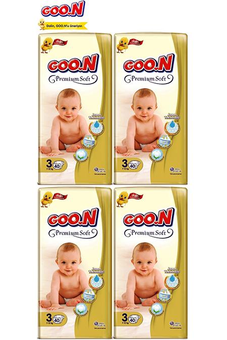 Goon Premium Soft Bebek Bezi 3 Beden Jumbo 160 Adet Aylık Fırsat Paketi_