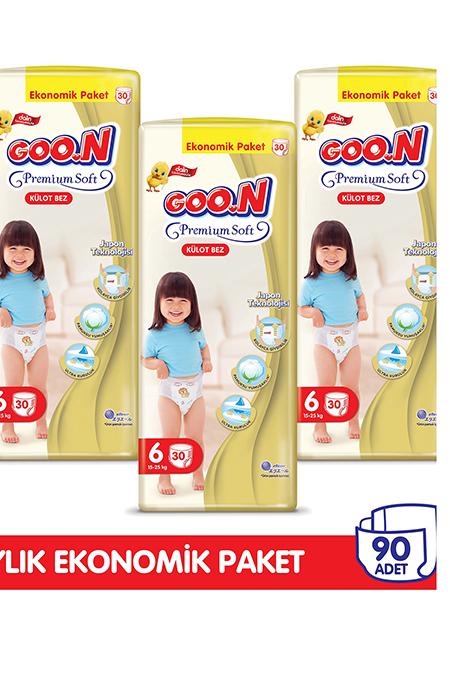 Goon Premium Soft Külot Bez 6 Beden Aylık Ekonomik Paket 90 Adet_