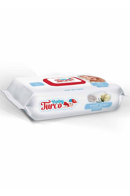 Baby Turco  Beyaz Sabun Kokulu Islak Mendil 90`lı_