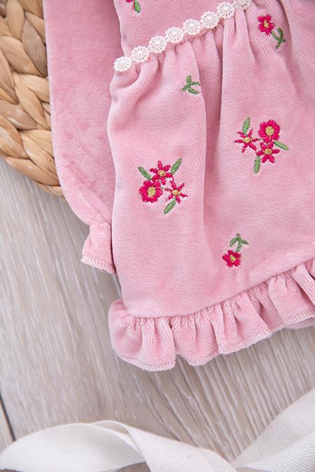 Kız Bebek Çiçekli Kadife Takım - 873_