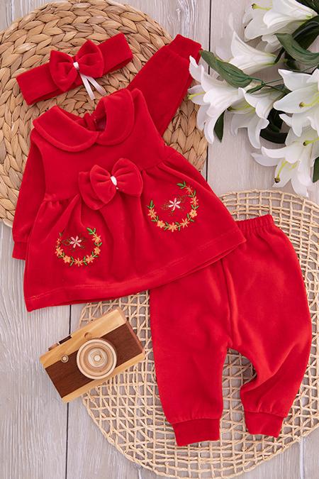 Kız Bebek Çiçekli Kadife Takım - 877_