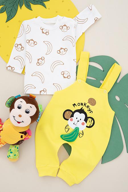 Bebek Maymun Basklı Salopet - 4839_